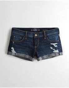 Hollister Stretch Low-Rise Denim Short-Shorts, Rip