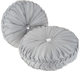 """""""As Is"""" Casa Zeta-Jones Set of 2 Round Ruched Pill"""