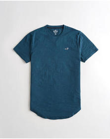 Hollister Curved Hem T-Shirt, BLUE