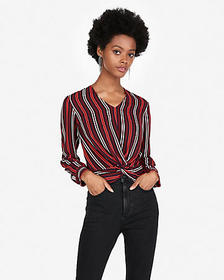 Express striped twist front top