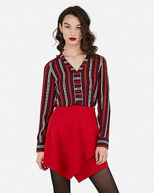 Express striped button front chelsea popover