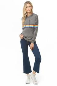 Forever21 Rainbow-Striped Hooded Top