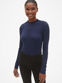 Long Sleeve Button-Shoulder Top in Modal