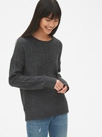 Lacy Pointelle Crewneck Pullover Sweater