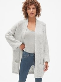Brushed Pointelle Open-Front Cardigan Sweater