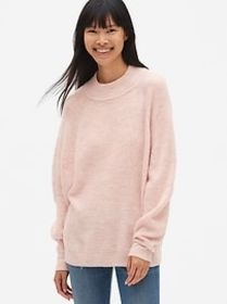 Slouchy Textured Mockneck Pullover Sweater