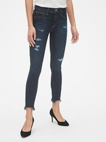Mid Rise Favorite Ankle Jeggings with Raw Hem