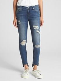 Washwell Low Rise True Skinny Jeans with Destructi