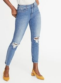High-Waisted Distressed Power Slim Straight Jeans
