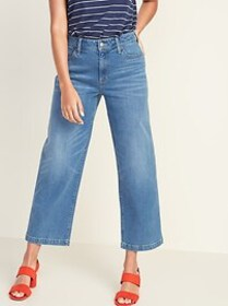 High-Waisted Wide-Leg Ankle Jeans For Women