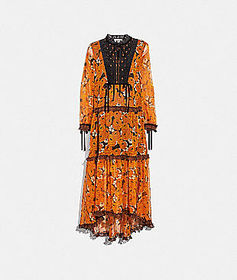 Coach rose print tiered dress