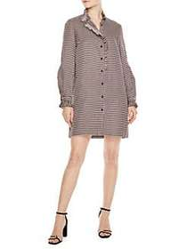 Sandro Country Club Music Checked Shirt Dress MULT