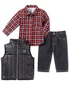 Calvin Klein Toddler Boys 3-Pc. Vest, Shirt & Jean