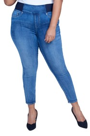 Seven7 Pull-On High Rise Sculpting Jeans (Plus Siz