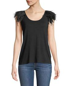 Philosophy Feather Detail Scoop-Neck Tank