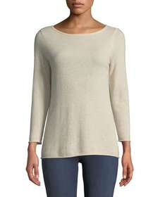 Neiman Marcus Basic Cashmere Boat-Neck Pullover Sw