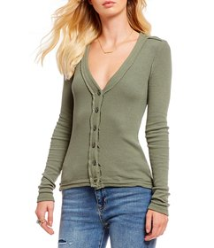 Free People Call Me Cardi V-Neck Button Front Long
