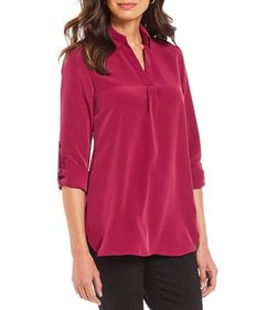Vision 155 Danielle Y Neck Roll Tab Blouse