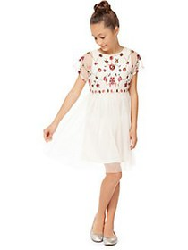 Dex Girl's Floral-Embellished Mesh Dress IVORY
