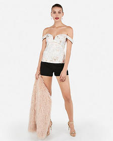 Express off the shoulder v-wire fitted top