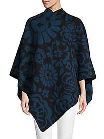 Burberry Classic Floral Poncho MARINE BLUE