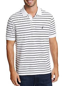 Nautica Striped Logo Polo BRIGHT WHITE
