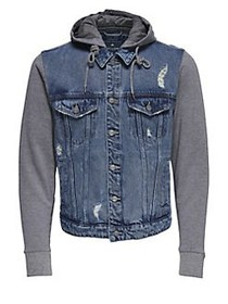 Only and Sons Hooded Denim Jacket BLUE DENIM