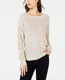 I.N.C. Lace-Up Grommet Sleeve Pullover Sweater, Cr