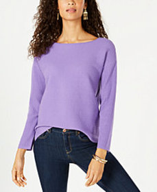 Style & Co Ribbed Boatneck Sweater, Created for Ma