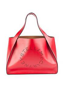 Stella McCartney Faux Leather Boxy Tote Bag RED
