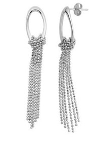 Lord & Taylor Sterling Silver Hoop and Fringe Earr
