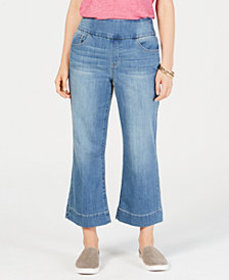 Style & Co Pull-On Wide-Leg Cropped Jeans, Created