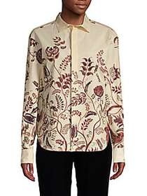 Christian Dior Printed Button-Front Blouse BROWN M
