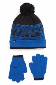 Nike Stripe Pom Beanie & Gloves Set (Big Boys) Nik