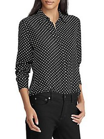 Lauren Ralph Lauren Relaxed-Fit Dot-Print Button-D