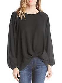 Karen Kane Long-Sleeve Twist Hem Top BLACK