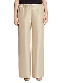 Max Mara Plus Reporter Wide-Leg Silk Pants SAND