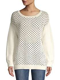 JONES NEW YORK Patterned Cotton Sweater ECRU