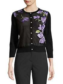Karl Lagerfeld Paris Floral Embroidered Mesh Cardi
