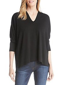 Karen Kane High-Low Hem Hooded Sweater BLACK