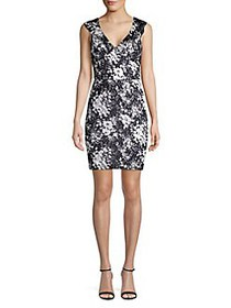 Guess Floral Sheath Dress BLACK IVORY
