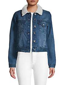 C&C California Faux Shearling Collar Denim Jacket