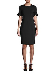 Calvin Klein Flutter-Sleeve Sheath Dress BLACK
