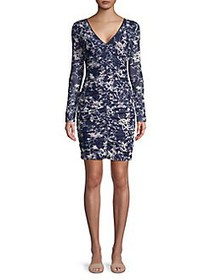 Guess Ruched Floral Sheath Dress NAVY MULTI