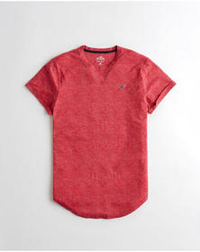 Hollister Must-Have Curved Hem T-Shirt, HEATHER RE