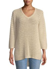 Iconic American Designer 3/4-Sleeve Textured High-