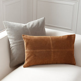 Sueded Leather Throw Pillow Covers