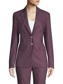 Escada Metallic Pinstripe Jacket DARK PLUM