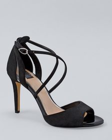Suede & PVC Strappy High Heels