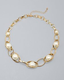 Oval Link & Glass Pearl Short Necklace